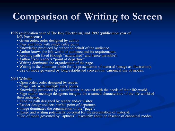 Comparison of Writing to Screen