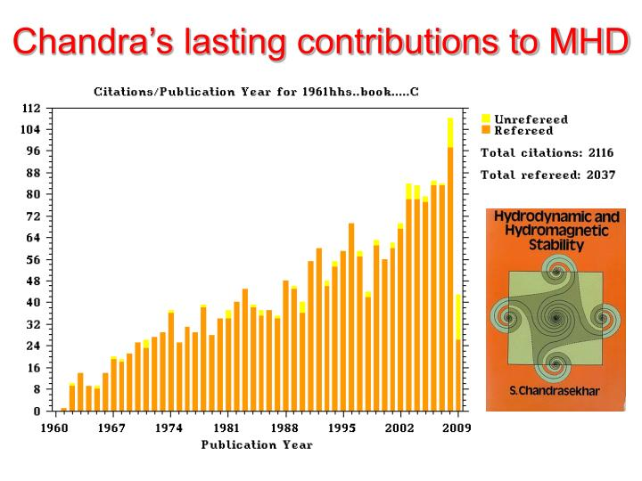 Chandra s lasting contributions to mhd