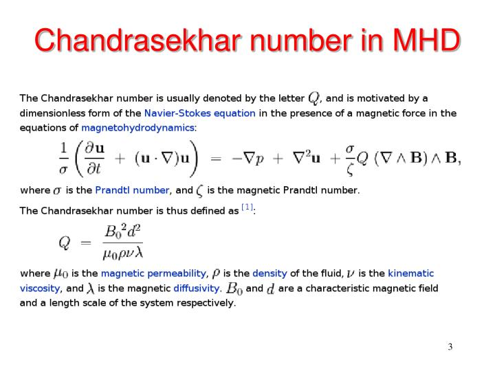 Chandrasekhar number in MHD