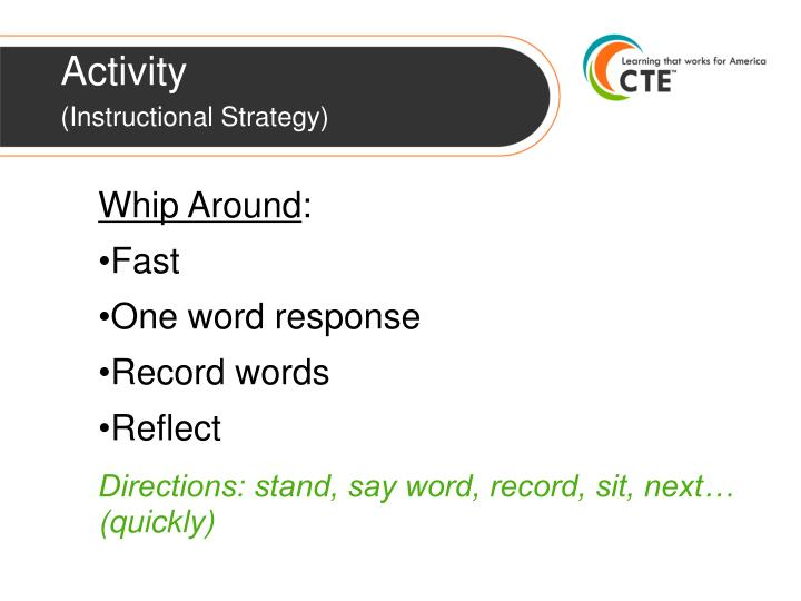 Activity instructional strategy