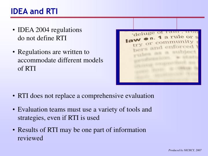IDEA and RTI