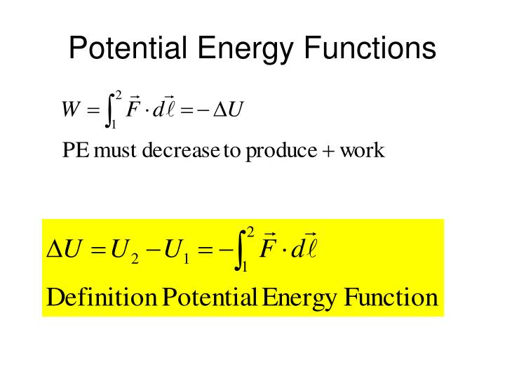 Potential Energy Functions
