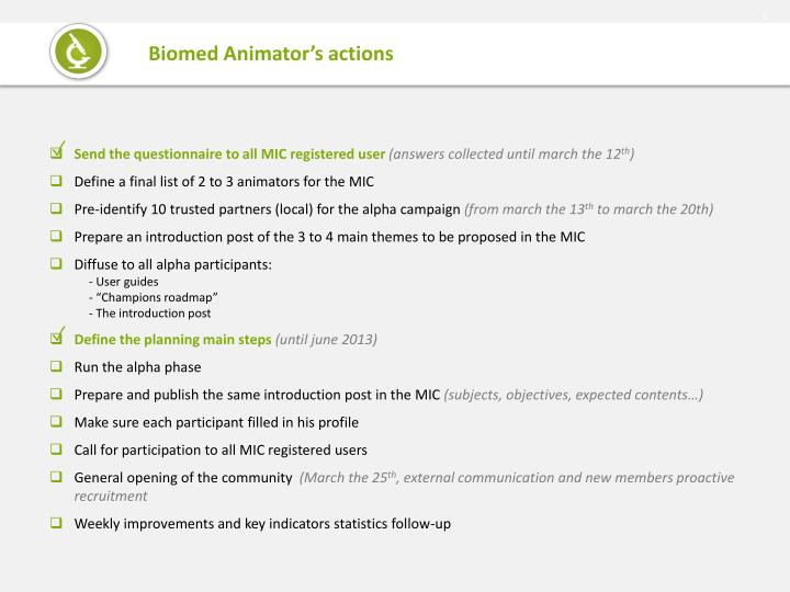Biomed Animator's actions