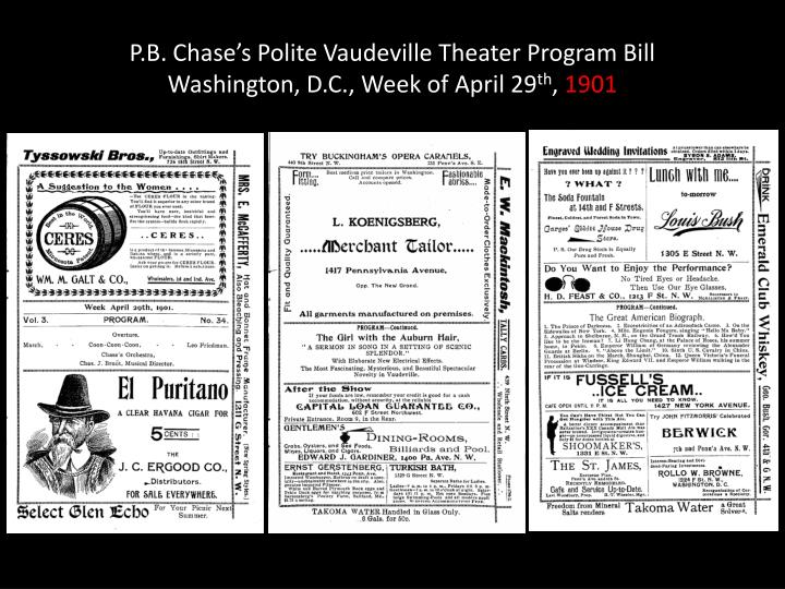 P.B. Chase's Polite Vaudeville Theater Program Bill