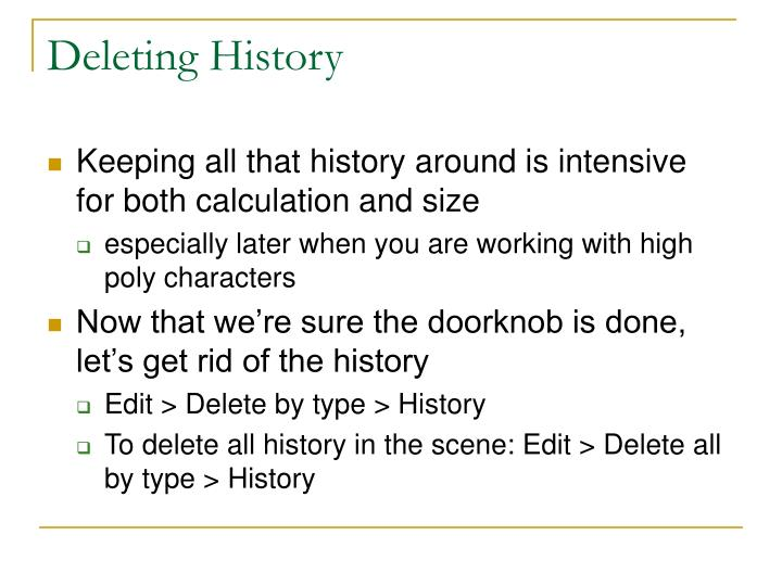 Deleting History