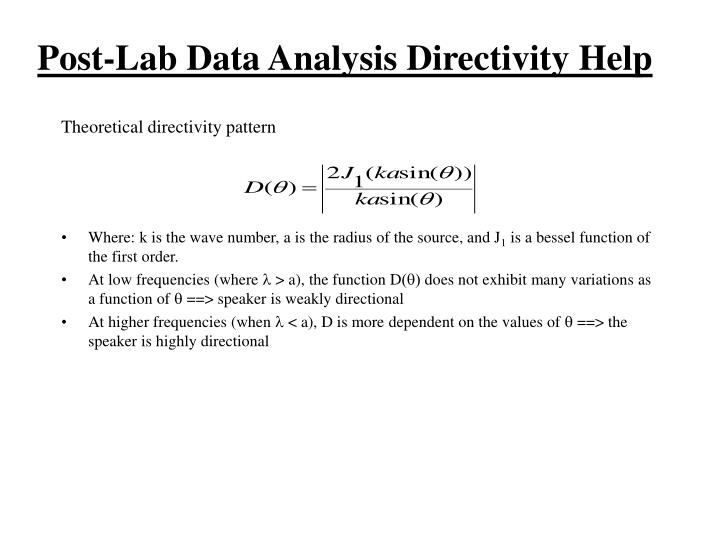 Post-Lab Data Analysis Directivity Help