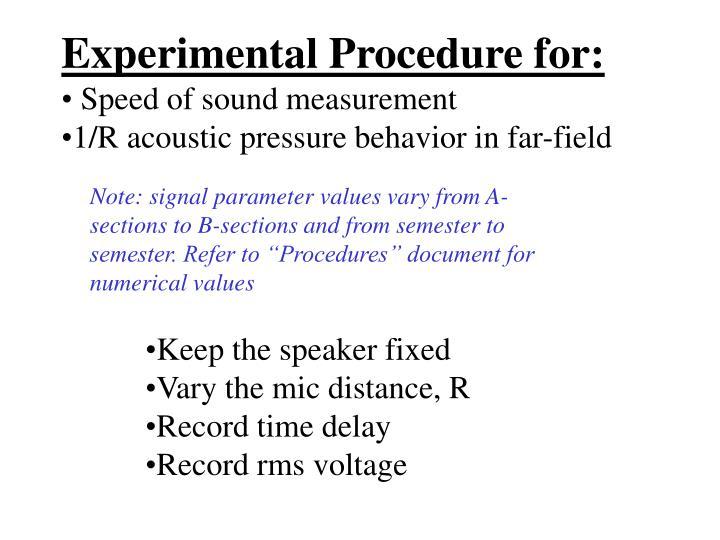 Experimental Procedure for: