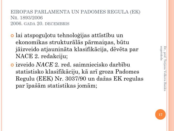 EIROPAS PARLAMENTA UN PADOMES REGULA (EK) Nr. 1893/2006