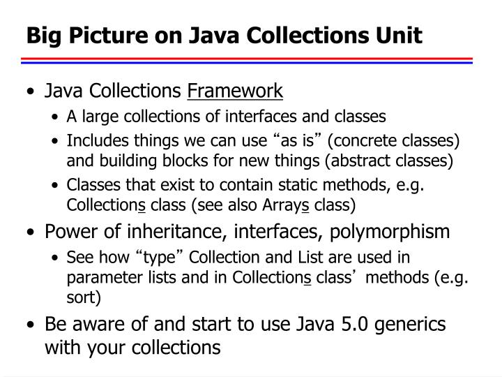 Big Picture on Java Collections Unit