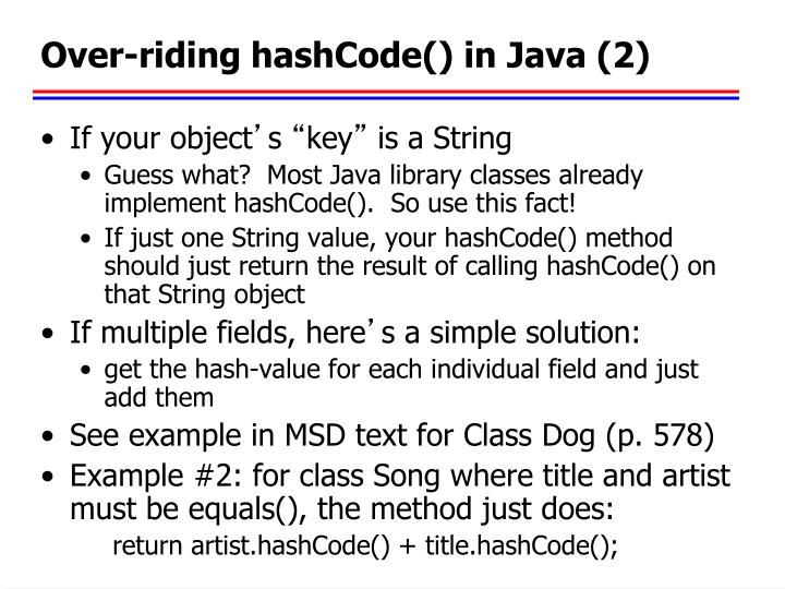 Over-riding hashCode() in Java (2)