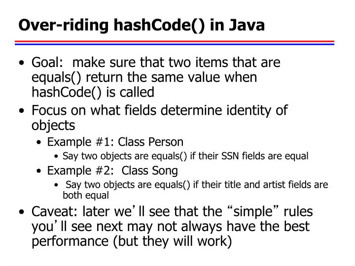 Over-riding hashCode() in Java