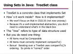 using sets in java treeset class