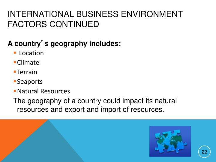 International Business Environment Factors continued