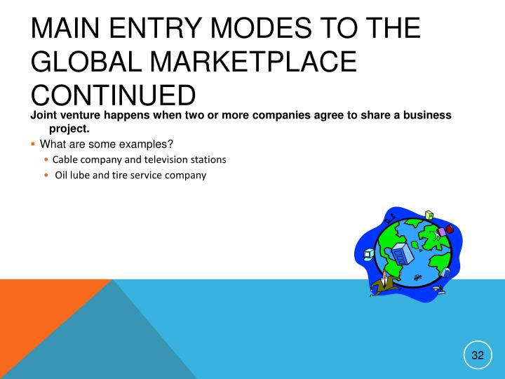 Main Entry Modes to the Global Marketplace continued