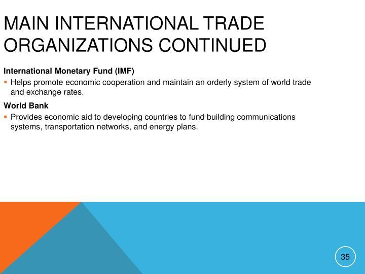 Main International Trade Organizations continued