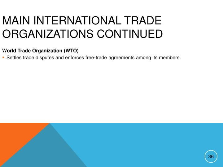 Main International Trade Organizations continued