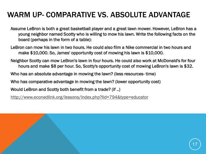 Warm Up- Comparative vs. Absolute advantage