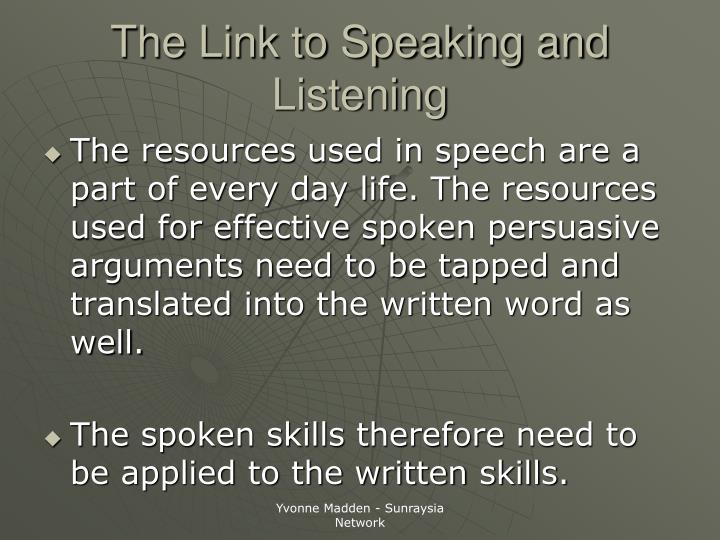 The Link to Speaking and Listening