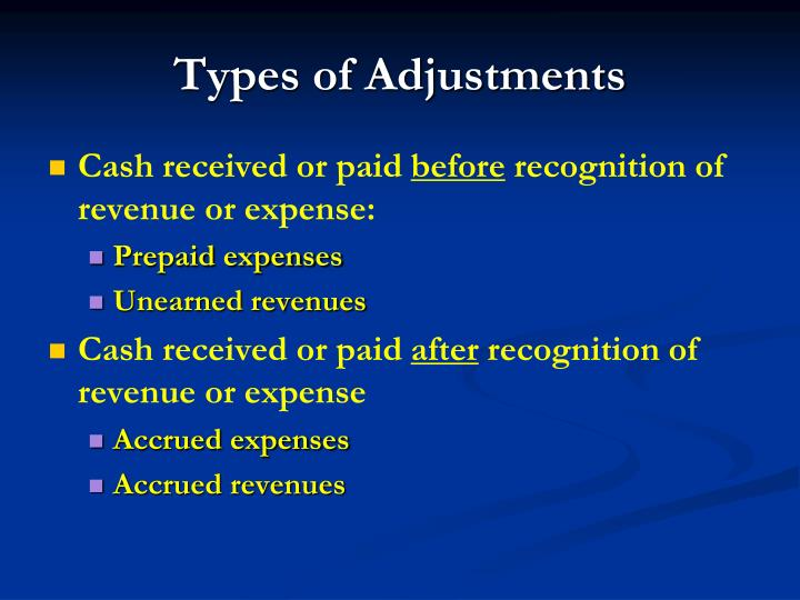 Types of Adjustments