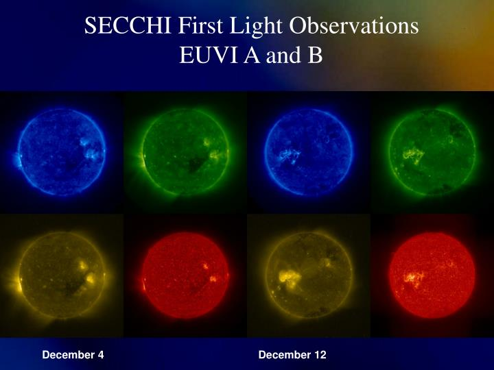 SECCHI First Light Observations