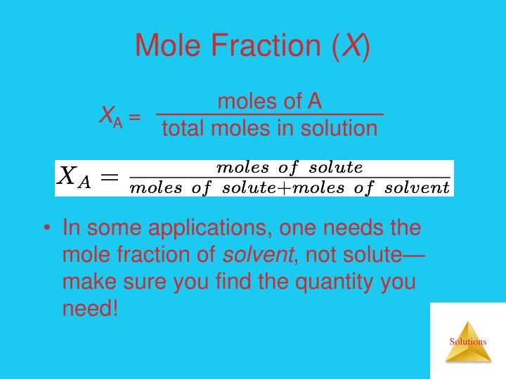 moles of A