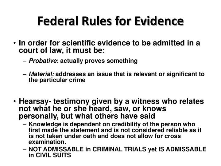 Federal Rules for Evidence