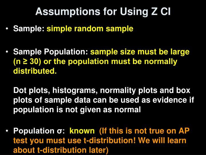 Assumptions for Using Z CI