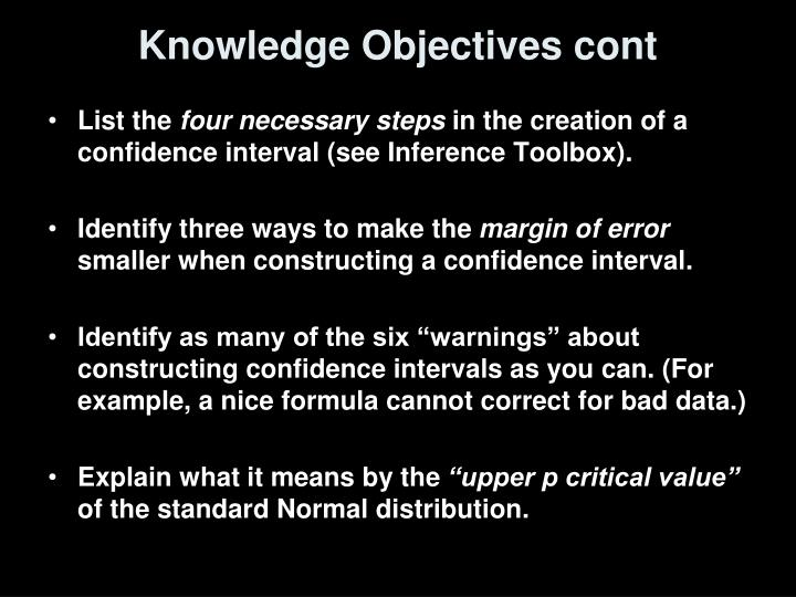Knowledge objectives cont