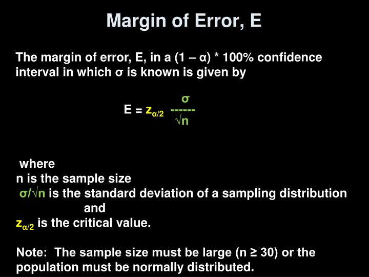Margin of Error, E