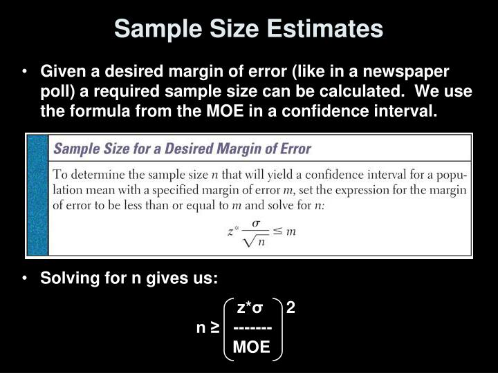 Sample Size Estimates