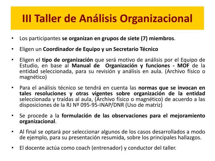 III Taller de Análisis Organizacional