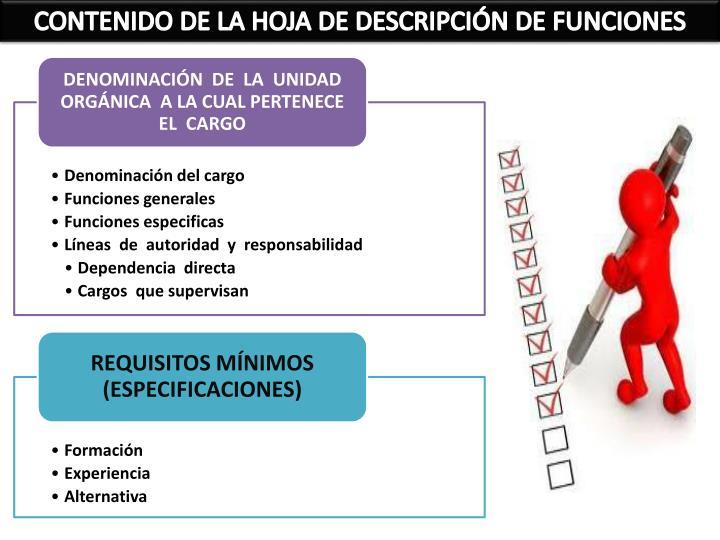 CONTENIDO DE LA HOJA DE DESCRIPCIÓN DE FUNCIONES