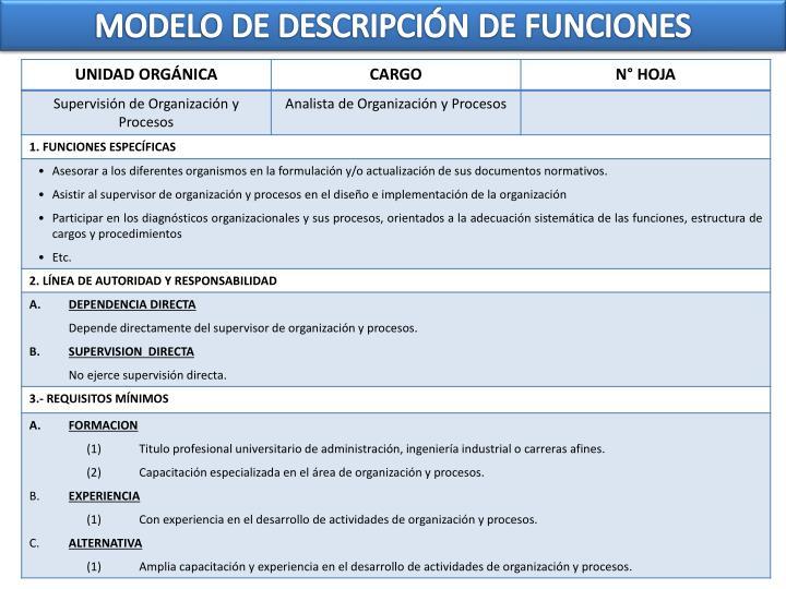 MODELO DE DESCRIPCIÓN DE FUNCIONES