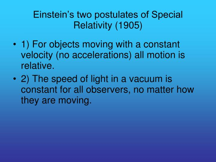 Einstein's two postulates of Special Relativity (1905)