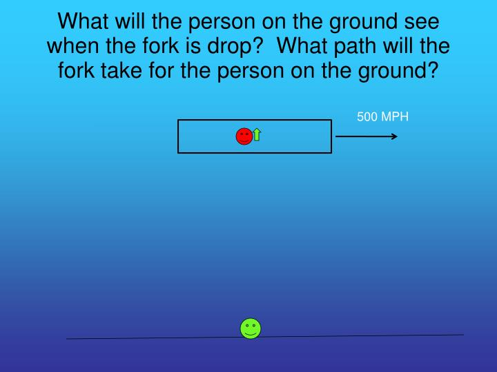 What will the person on the ground see when the fork is drop?  What path will the fork take for the person on the ground?