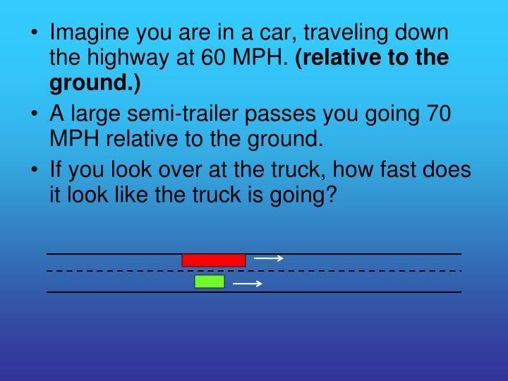 Imagine you are in a car, traveling down the highway at 60 MPH.