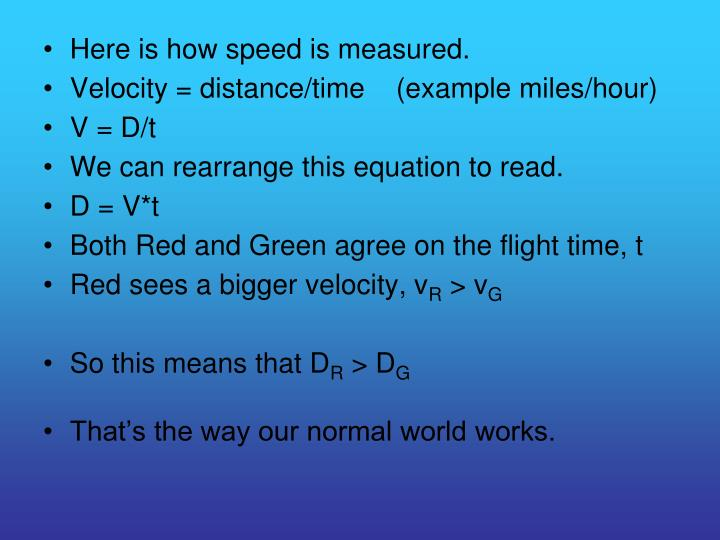 Here is how speed is measured.