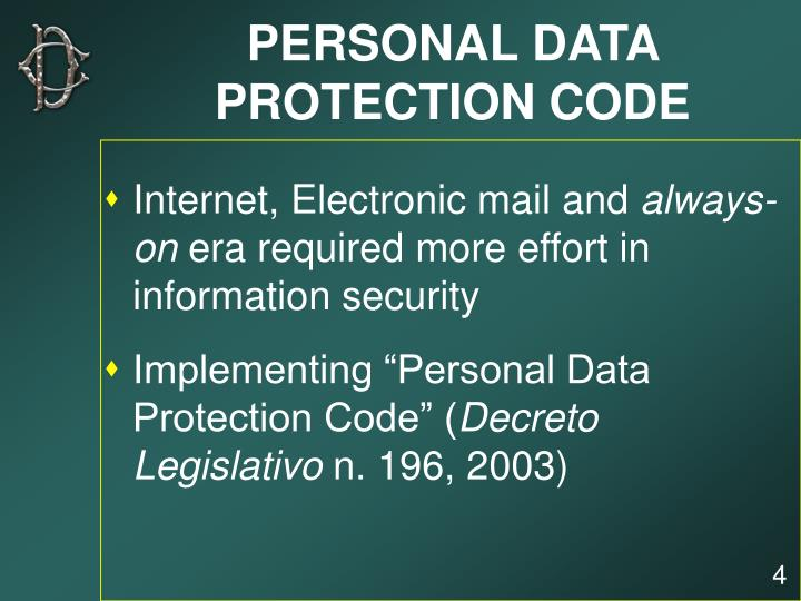 PERSONAL DATA PROTECTION CODE