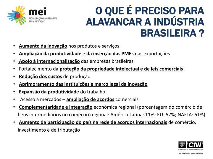 O QUE É PRECISO PARA ALAVANCAR A INDÚSTRIA BRASILEIRA ?