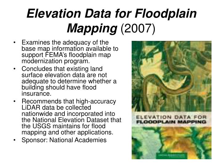 Elevation Data for Floodplain Mapping