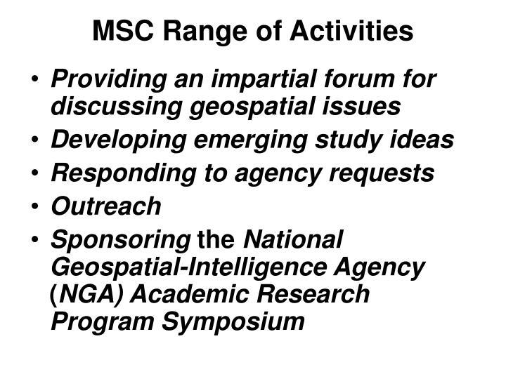 MSC Range of Activities