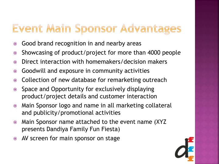 Event Main Sponsor Advantages