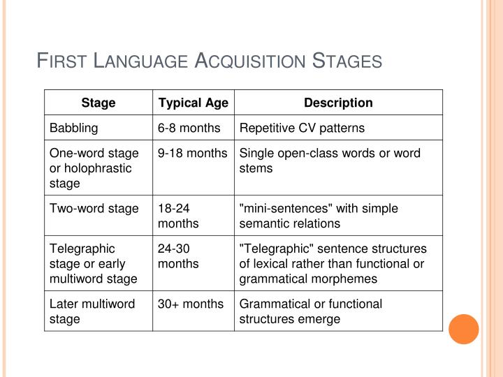 First language acquisition stages