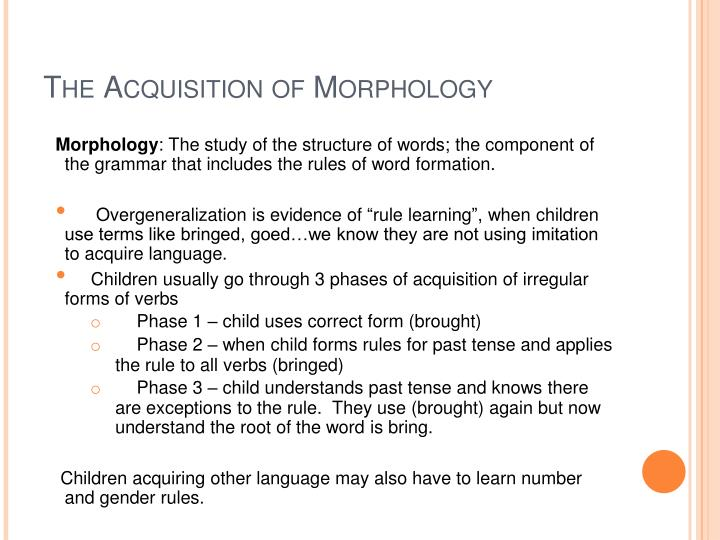 The Acquisition of Morphology