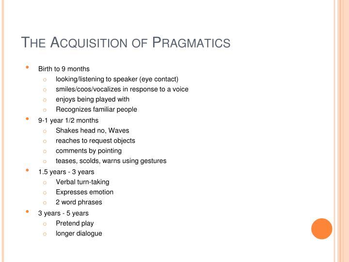 The Acquisition of Pragmatics