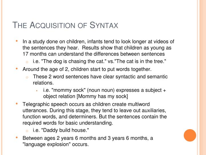 The Acquisition of Syntax