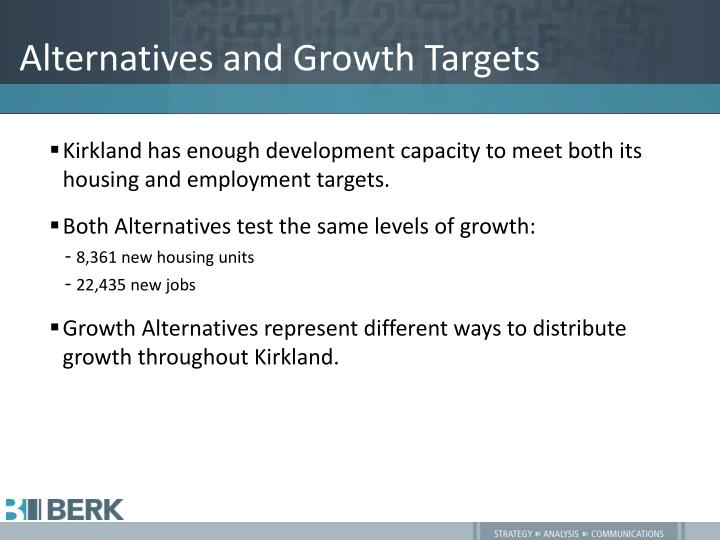 Alternatives and Growth Targets
