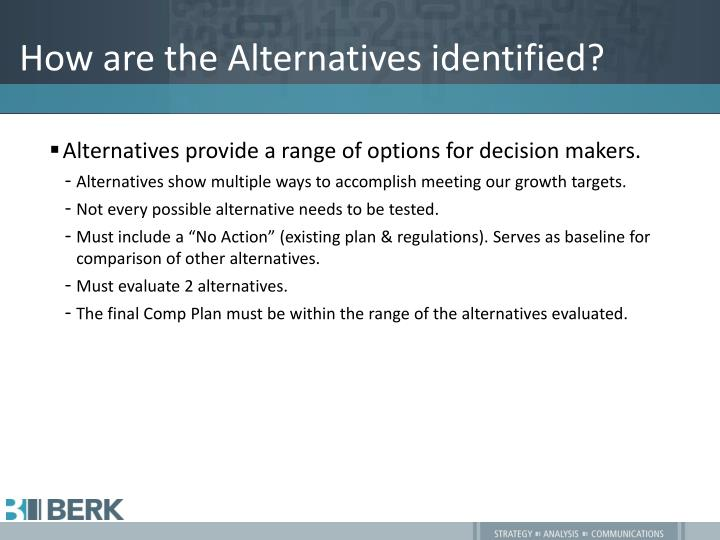 How are the Alternatives identified?