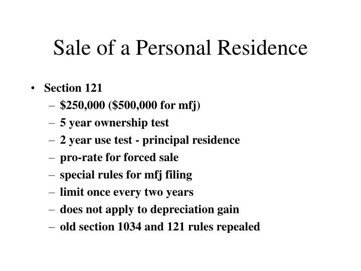 Sale of a Personal Residence