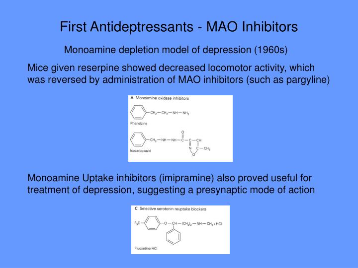 First Antideptressants - MAO Inhibitors